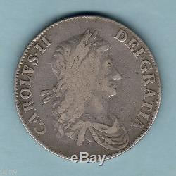 Grande Bretagne. 1662 Charles 11 Couronne. Bord Daté, No Rose. F / Fine +