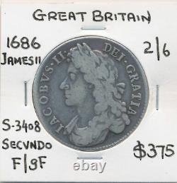 Grande Bretagne 1686 James II 2/6 Half Crown Secvndo S-3408 F/gf Scarce