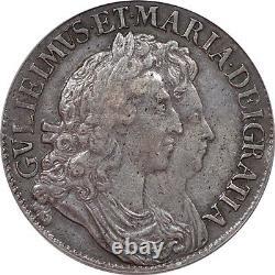 Grande Bretagne 1691 William And Mary Crown Pcgs Xf-40 Grands Portraits