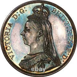 Grande Bretagne 1887 Victoria Silver Proof Crown Pcgs Pr-62 Gold Shield
