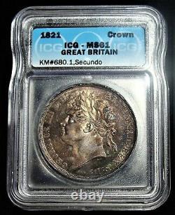 Grande Bretagne George IV Crown 1821 Ms61 Icg. Superbe Tonification