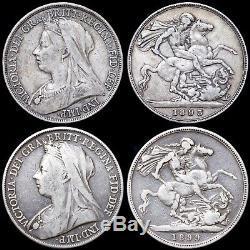 Grande Bretagne. Huit Pièces Victorienne D'argent De La Couronne, Jubilé Et Les Chefs Veiled