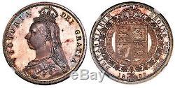 Grande Bretagne. Victoria 1887 Ar Set Proof 7 Pièces (couronne 3d) Ngc Pr65-pr63