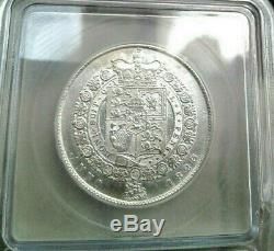 Grande Couronne Britannique 1823 Demi Certifiée Au53