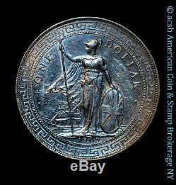 Grande-bretagne 1 Dollar Commerce 1909 B Argent Au Unc Km # T5 Lustrée Blanc