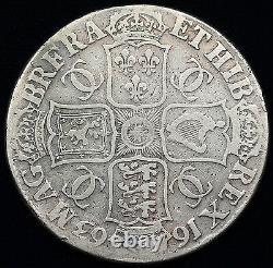 Grande-bretagne 1663 Argent Crown Pièce Fine Charles II Km #417.5 Dav#3774b