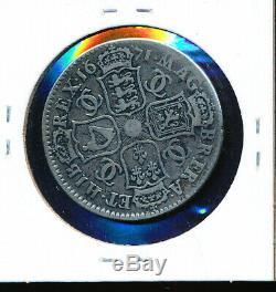 Grande-bretagne 1671 Charles II Argent 1/2 Couronne De Nice Coin