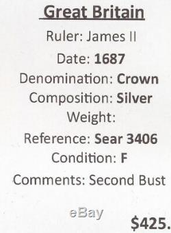 Grande-bretagne 1687 James II Couronne. Sear 3406 Bust Deuxième. Bien