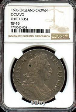 Grande-bretagne 1696 Couronne, Londres, Angleterre, William III 3e Buste Octavo, Ngc Xf45