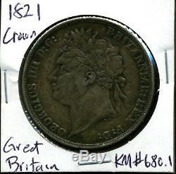 Grande-bretagne 1821 George IV Couronne En Vf Condition Secundo Bord Km # 680.1