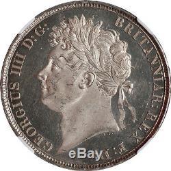 Grande-bretagne 1821 George IV Preuve Profonde Miroir Comme Silver Crown Ngc Ms-62