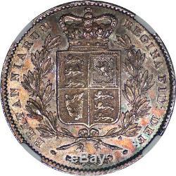 Grande-bretagne 1845 Victoria Silver Crown Ngc Ms-62 Coloré Ton Irisé