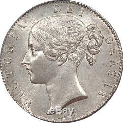 Grande-bretagne 1847 Victoria Jeune Chef Silver Crown Cgs 75
