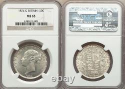 Grande-bretagne 1874 Victoria Silver Half Crown Ngc Ms-63
