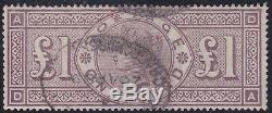 Grande-bretagne 1884 Qv £ 1 Couronne Wmk Occasion Vf / Sg 185 / Certificat P22783