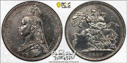 Grande-bretagne 1887 Silver Crown, La Reine Victoria, Unc Ms Pcgs