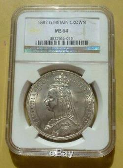 Grande-bretagne 1887 Victoria Crown Ngc Ms64