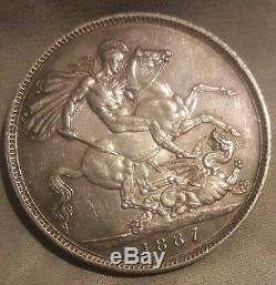 Grande-bretagne 1887 Victoria Jubilee Silver Crown Très High Grade Au +
