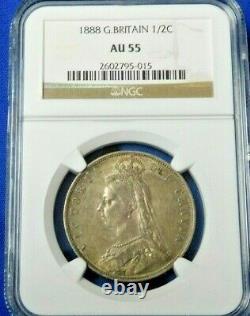 Grande-bretagne 1888 Silver Half Crown Queen Victoria Ngc Au55 A Beauty! (597)