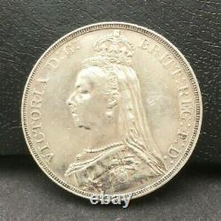 Grande-bretagne 1889 Couronne Reine Victoria Silver Coin #2