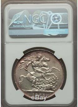 Grande-bretagne 1893 Couronne Lxi. Certifié Unc Détails Par Ngc (dommages Rim)