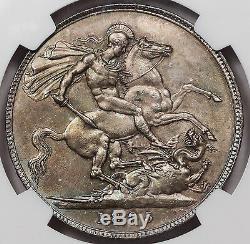 Grande-bretagne 1895 Couronne Argent Monnaie Bu Ngc Ms64 Victoria Km-lix 783,1 Bord Uk