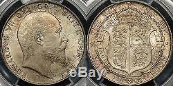 Grande-bretagne 1902 Half Crown 1/2 Cr Km # 802 Pcgs Ms64 Choix Ongecirculeerd
