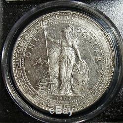 Grande-bretagne 1903/2-b Silver Dollar Trade Pcgs Km-t5 Ms-62. Rare