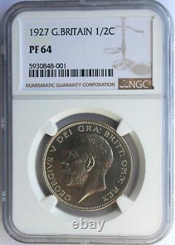 Grande-bretagne 1927 Silver Brillant Proof Half Crown. George V. Ngc Pf-64