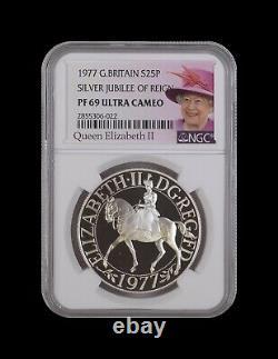 Grande-bretagne. 25 New Pence, 1977, Silver Ngc Pf69 Crown Top Pop Jubilee