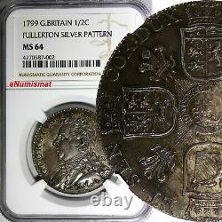 Grande-bretagne Écossais George III Silver Pattern 1799 1/2 Crown Ngc Ms64 Scarce