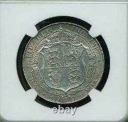 Grande-bretagne Edward VII 1902 Demi-couronne Choix Uncirculated Certified Ngc Ms-64