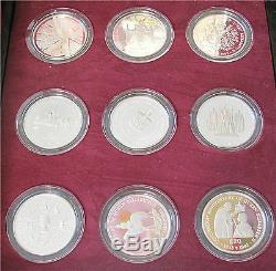 Grande-bretagne Elizabeth II Couronnement En Argent Sterling 18 Dollar Crown Set 1587 $
