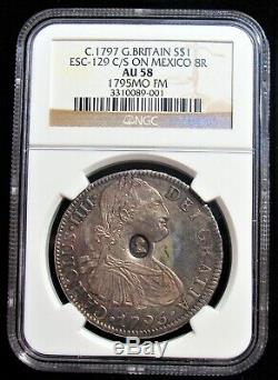 Grande-bretagne George III Contremarqué Dollar Nd (1797) Au58 Ngc