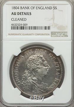 Grande-bretagne George III Dollar Banque 5 Shillings 1804. Ngc Au Détails Km # Tn1