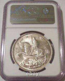Grande-bretagne George V 1935 Crown Silver Jubilee Incuse Edge Lettrage Ms63 Ngc