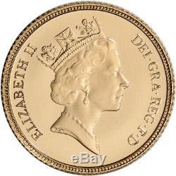 Grande-bretagne Or 1/2 Souverain. Elizabeth II 1177 Oz Couronne Bu Aléatoire Date