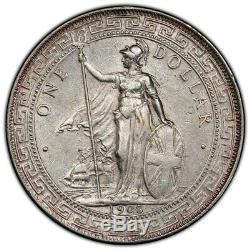Grande-bretagne Royaume-uni 1908/7 B Commerce Dollar Chine $ 1 Argent Monnaie Pcgs Au Better Date