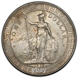 Grande-bretagne Royaume-uni 1911 B Commerce Dollar Chine $ 1 Argent Monnaie Pcgs Au Km-t5