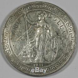Grande-bretagne Royaume-uni 1911 B Commerce Dollar En Chine $ 1 Argent Monnaie Choix Unc