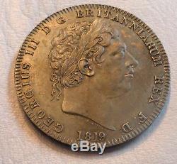 Grande-bretagne Royaume-uni Coin Couronne 1819 LIX De Nice Noir Patina Au +
