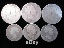 Grande-bretagne Sterling Couronne Et Demi-couronnes 1820 1819 1834 1835 1878 Coins #jr