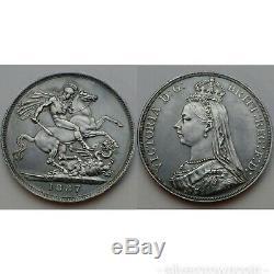 Grande-bretagne Uk Crown 1887. Km # 765,925 Pièce De Silver Dollar. La Reine Victoria