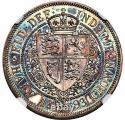 Grande-bretagne Victoria 1/2 Couronne 1893 Ngc Pf64 Cameo Vibrant