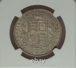 Grande-bretagne Victoria 1874 Demi-couronne Presque Non Circulé Certifié Ngc Au-58