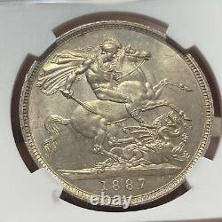 Grande-bretagne Victoria Couronne D'argent 1887 Ngc Ms62