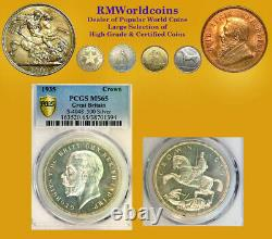 Gt. Britain 1935 Crown, Gem Frosted Cameo Specimen Pcgs Sp 65 Pq, Mislabeled Ms65
