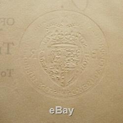 La Reine Elizabeth II Document Signé Obe Militaire Royal Raf La Couronne Dowton Abbaye