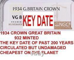 Ngc 1934 Grande-bretagne George V Crown-rarest Date Des 200 Dernières Années-bon Prix