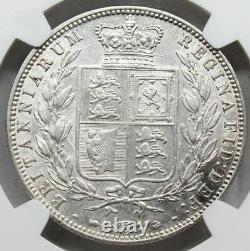Ngc Au50 Royaume-uni Grande-bretagne 1877 Victoria Les Jeunes Tête Demi 1/2 Piece En Argent De La Couronne